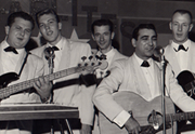 'The Downbeats' - circa 1959 (Terry Carisse 2nd left - Joe Pino at mic and Ernie Dunn at right) other two band members unidentified